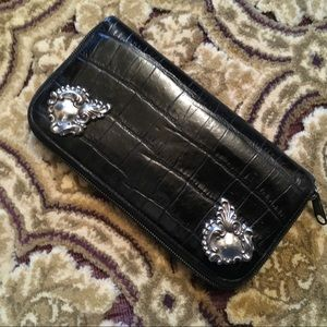 Handbags - BRIGHTON black croc zip around clutch wallet